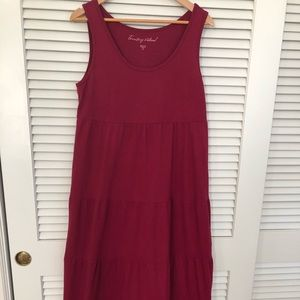 Territory Ahead deep pink cotton tiered maxi dress